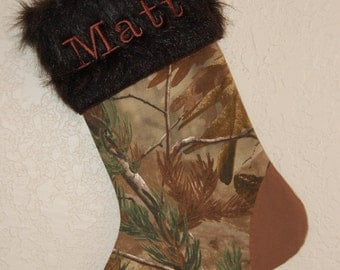Personalized Hunting Camo Christmas Stocking