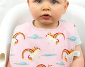 Pink Unicorns and Rainbows Baby Bib Reversible Baby Snap Bib Non Velcro Bib Cotton Reversible Baby Bib Girl Baby Shower Riley Blake Fabric