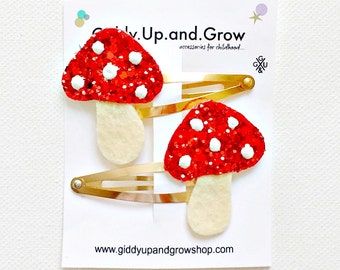 Felt Hair Clip Toadstool Glitter Hair Barrette Felt Gnome, giddyupandgrow