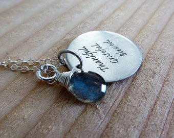 Quote necklace, thankful grateful blessed word charm, gift for mother, loved one, mom, nymetals