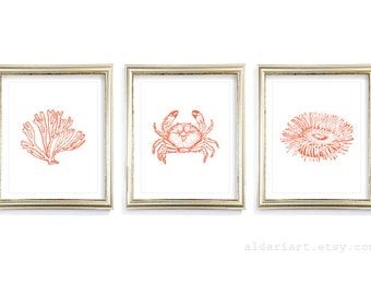 Nautical Prints - Nautical Wall Art - Coral Print Crab Print - Sea Life Art prints - Bathroom Decor - Bathroom Wall Art - Nautical Decor