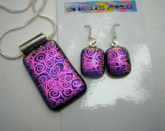 Dichroic Jewelry Set Midnight Blue with Hot Pink Swirls Matching Pendant & Earrings 925 Sterling Earwire Fused Glass Statement Jewelry