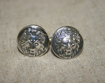 Silver Cuff Links, Silver Lion,Lion Cuff Links,Handmade Silver Cuff Links , Men's Cuff Links, Statement Cuff Links, Solid Silver Cuff Links,