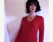 Fabulous Fall Cashmere V Neck Sweater Lipstick  Red By Bloomingdales Size Large