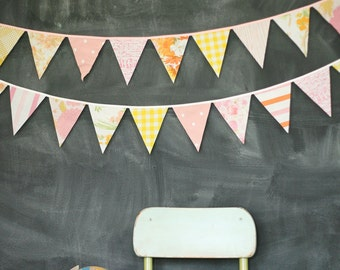 Nursery Bunting Banner / Baby Shower / Nursery Decor / Peach Pink Yellow / Photography Prop / Single-Sided Flag