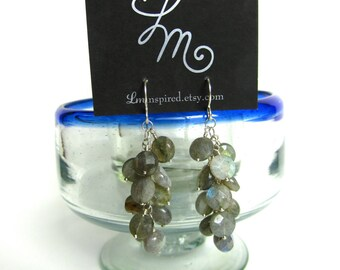 "Labradorite Faceted ""Grape Cluster"" Sterling Silver Earrings by LM-inspired"