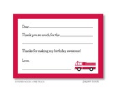 Fire Truck PRINTABLE Fill-in-the-Blank Thank You Note