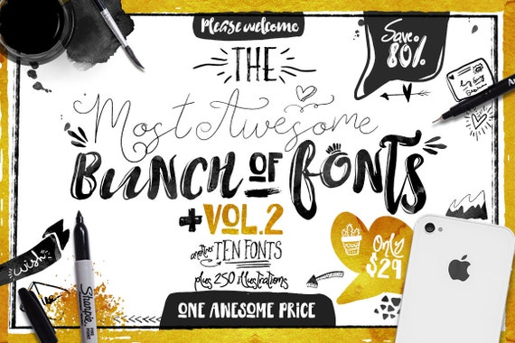 Big Bunch of Fonts Vol 2 - hand drawn digital typeface bundle for typography - Brush, script, display