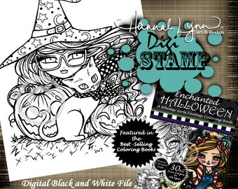 PRINTABLE Digi Stamp Witch Fairy Cat Enchanted Halloween Coloring Page Fun Fantasy Art Hannah Lynn