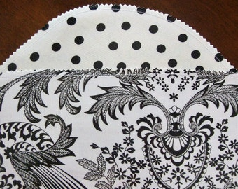 Black Paisley and Black Dots Oilcloth Placemats