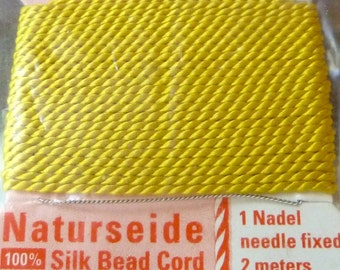 Size 2 Yellow Silk Beading Cord with Needle Attached -  Griffin Pure Silk Thread