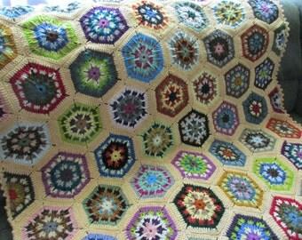 Handmade Crochet Butter Cream Edged Multi-Colored Kaleidoscope Afghan 48 x 68