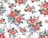 Coral Burgundy Blue and Grey Floral 4 Way Stretch FRENCH TERRY Knit Fabric, Club Fabrics