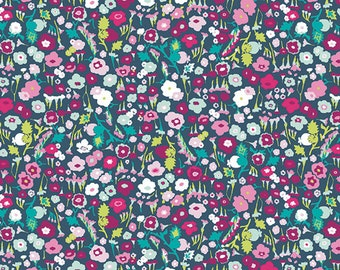 Blue Teal Pink and Green Ditsy Floral Jersey Knit Fabric, Lavish by Katarina Roccella for Art Gallery Fabrics, Pretty Ditsy Dream, 1 Yard