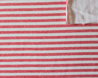 Red and Cream Striped Rayon Spandex Micro French Terry Knit Fabric, 1 Yard