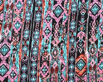 Pink Aqua and Black Abstract Vertical Stripe Liverpool Knit Fabric, 1 yard