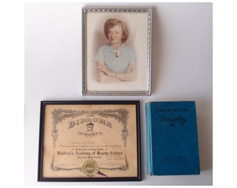 1920s - 50s vintage mini Americana archive with photographs, a Beauty School Diploma, & cosmetology textbook
