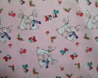 Pink Bunnies Pixie Noel Fabric Tasha Noel Riley Blake Design