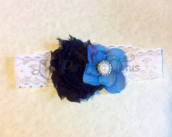 Blue floral headband, girls headband, infant headband, baby headband, photo prop, baby shower gift, baby gift, toddler headband, handmade