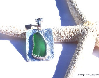 Green Sea Glass - GENUINE Sterling Sea Glass Bezel Necklace  Lake Erie Beach Glass