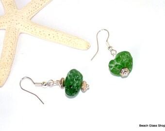 Sterling Seaglass Earrings - Pierced Earrings - Lake Erie Beach Glass - Green Glass Jewelry