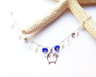 Sterling Sea Glass Charm Bracelet -  Lake Erie Beach Glass - Dolphin Charm Bracelet
