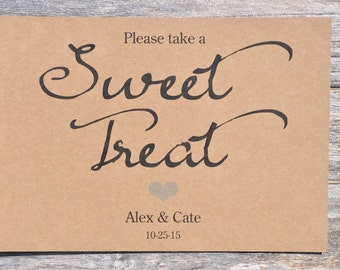 Boys Baby Shower Sweet Treat Sign - Rustic Wedding Sign, Baby Shower Sign - Sweet Table Sign, Candy Buffet Sign - 5x7 Rustic, Kraft Sign