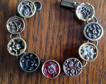 1800s Floral Picture Button Bracelet