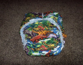 AIO Adult Cloth Diaper, Minky Lining,Dinosaur Print, Zorb Soaker, Buy 4 Get 1 Free, Incontinence Protection for Adults and Special Needs