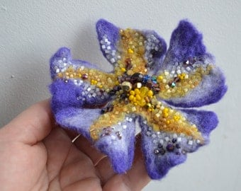 Felt Flower Wool Pin Purple Brooch Yellow Beads,Floral Corsage Pin,Felt Brooch,Felted Flower Gift Idea,Handmade Art Pin,Embroidered Flower