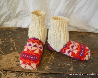 Women's 6 (EU 36) KALEIDOSCOPE Felted Wool Soccasins with Leather Soles and Heels