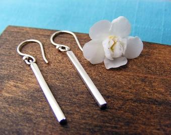Silver Bar Earrings, Minimalist Earrings, Bar Silver Earrings, Modern Earrings, Dangle Earrings, Silver Simple Earrings, Drop Earrings