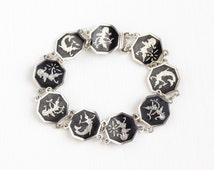 Vintage Sterling Silver Siam Ramakien Niello Bracelet - Siamese Goddess Thai Black Nielloware Hexagonal Panel Unique Statement Jewelry