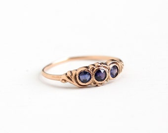 Sale - Antique Edwardian 10k Rose Gold Blue Garnet Doublet Ring - Vintage Early 1900s Size 6 1/2 Simulated Sapphire Three Stone Fine Jewelry