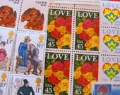 Rainbow of Love 50 Premium Vintage Modern UNused Used Postage Stamps Crush Romance Mothers Day Wedding Postage Save the Date Anniversary