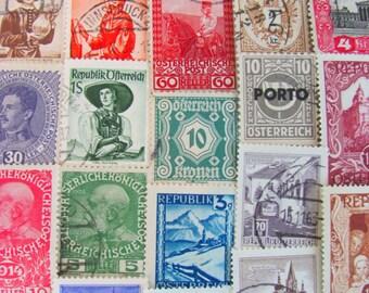 Vienna Is For Lovers 50 Vintage Austrian Postage Stamps Austria Republik Osterreich Wien Eastern Europe Steampunk Travel Worldwide Philately