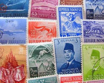 Javanese Please 50 Vintage Indonesian Postage Stamps Republic of Indonesia Jakarta East Indies Sumatra Southeast Asia Worldwide Philately