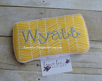 READY TO SHIP, Yellow and White Herringbone Travel Baby Wipe Case, Personalized, Wipe Holder, Baby Shower Gift, Wipe Holder, Wipe Clutch