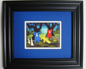 "George Rodrigue BLUE DOG promotional POSTCARD ""Who Will She Be Today?"" - Matted & Framed - 13.25"" x 11.25"" overall size"