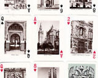 1950's Fournier Sepia Photos within Monumentos de Espana PLAYING CARDS 55 all different Buildings 52 Set plus Jokers & Title Card