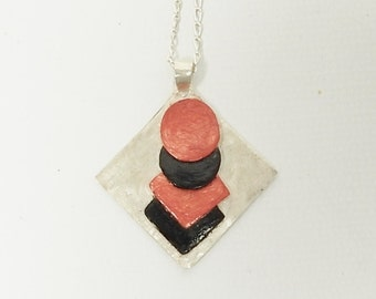 Sterling Silver, Abstract, Geometric, Minimalist, Contemporary, Modern Enamel Pendant Necklace