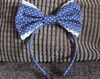 Navy Polka Dot Lolita Bow