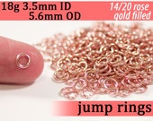 18g 3.5mm ID 5.6mm OD rose gold filled jump rings -- 18g3.50 pink goldfill jumprings 14k goldfilled jewelry supplies findings