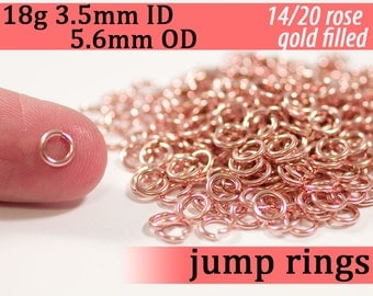 18g 3.5mm ID 5.6mm OD rose gold filled jump rings -- 18g3.50 pink goldfill jumprings 14k goldfilled
