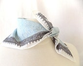Yoshie Inaba Japanese Designer Vintage Handkerchief or Scarf from  in Blue & Black on White