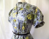 1950s Day Dress in Gray with Yellow Roses Cotton Print