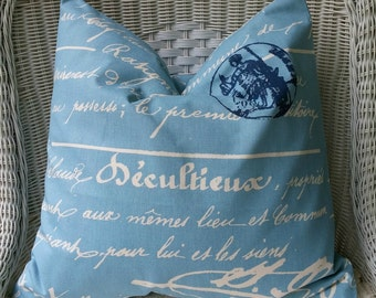 NEW Blue and Navy  French Postage  Pillow Covers All Sizes