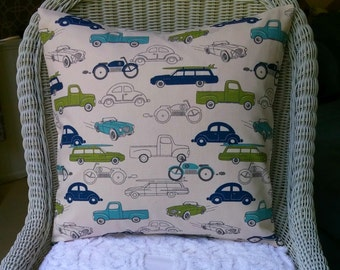 Childrens Pillow, Blue NEW Retro Childrens Pillow,  , Cars Pillow, , Vintage Cars Cushion Cover, Boys Room, Trucks, Vehicles