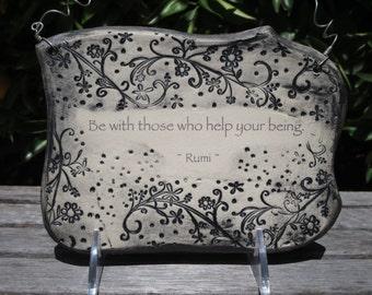 Handmade inspirational Rumi Quote Ceramic Plaque