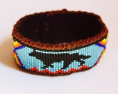 Walking on Fire, Wolf Beaded Bracelet Cuff on Deer Hide, Native American Inspired, Spirit Medicine